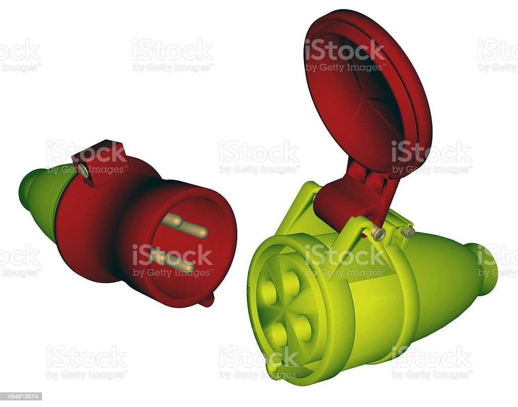 Industrial electric plug and socket stock photo