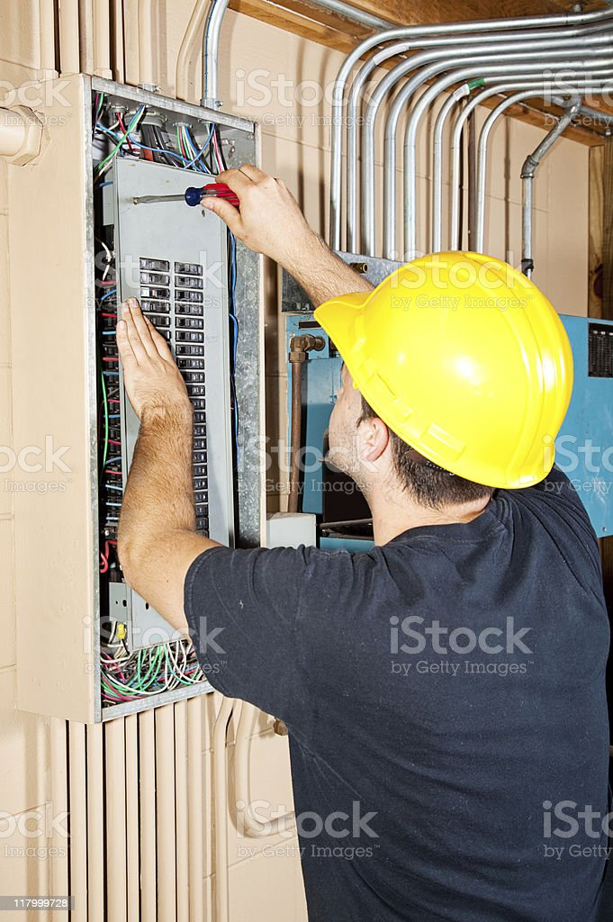 Industrial Electric Work stock photo