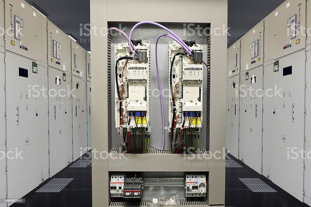 Industrial electrical control panel stock photo