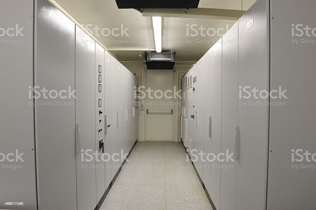 Industrial electrical control room stock photo