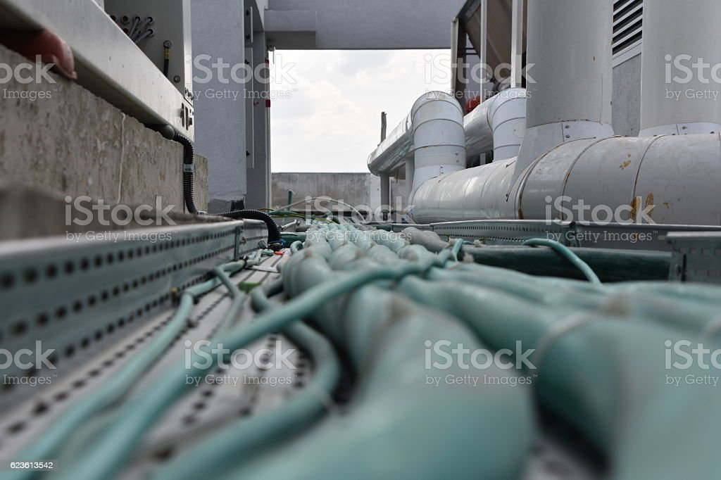 Industrial electrical wiring pipes stock photo
