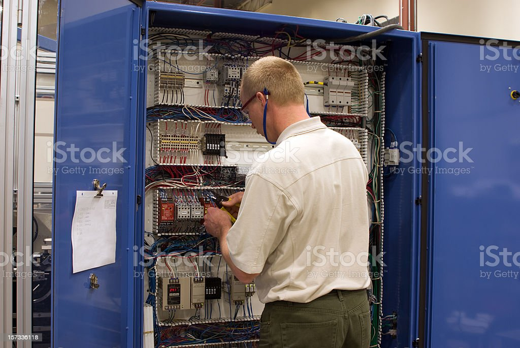 Industrial Electrician royalty-free stock photo
