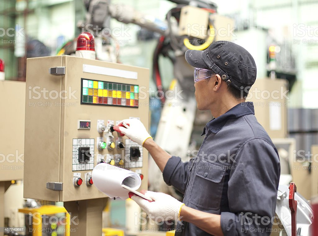 Industrial engineer in factory stock photo