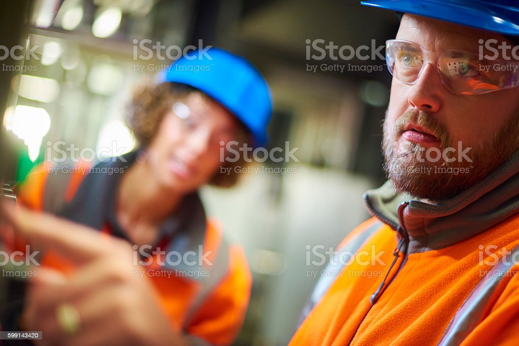 Industrial engineers stock photo