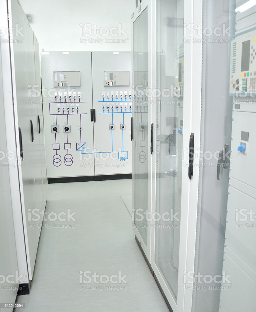 Industrial Equipment in a Control Room stock photo
