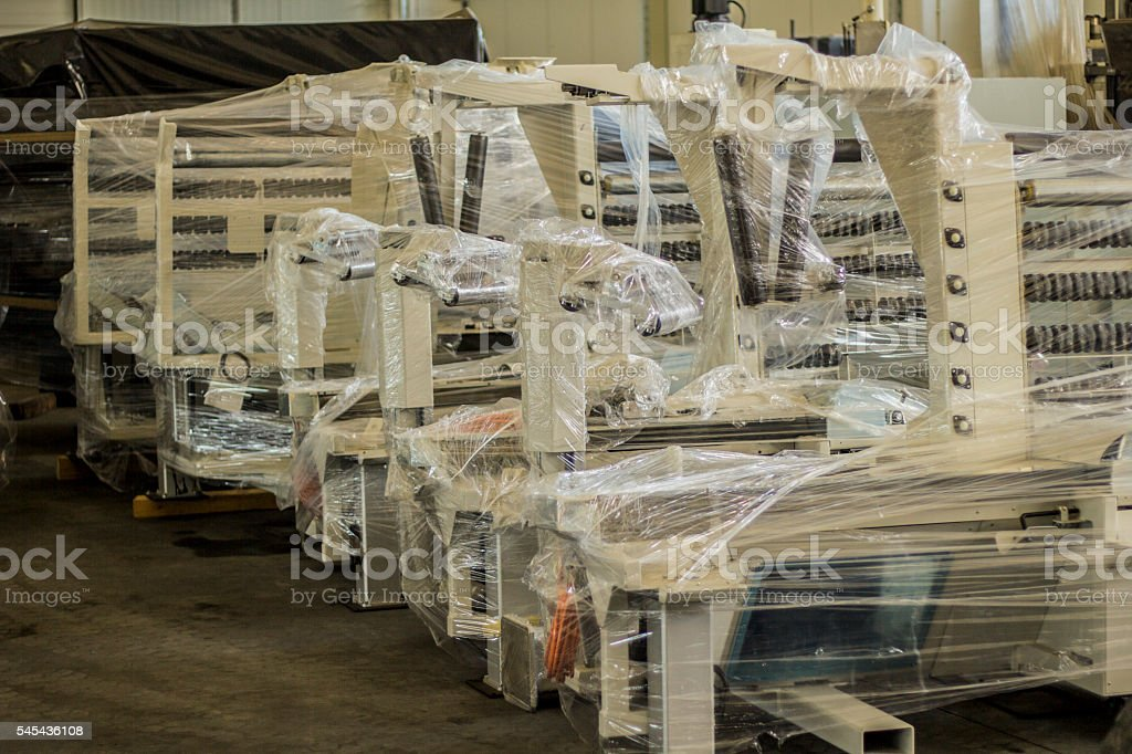 Industrial equipment in warehouse. stock photo