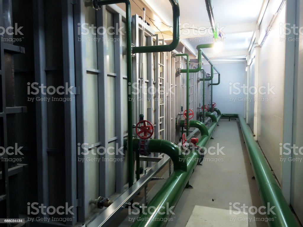 Industrial equipment interior of plastic tanks manufacturer stock photo