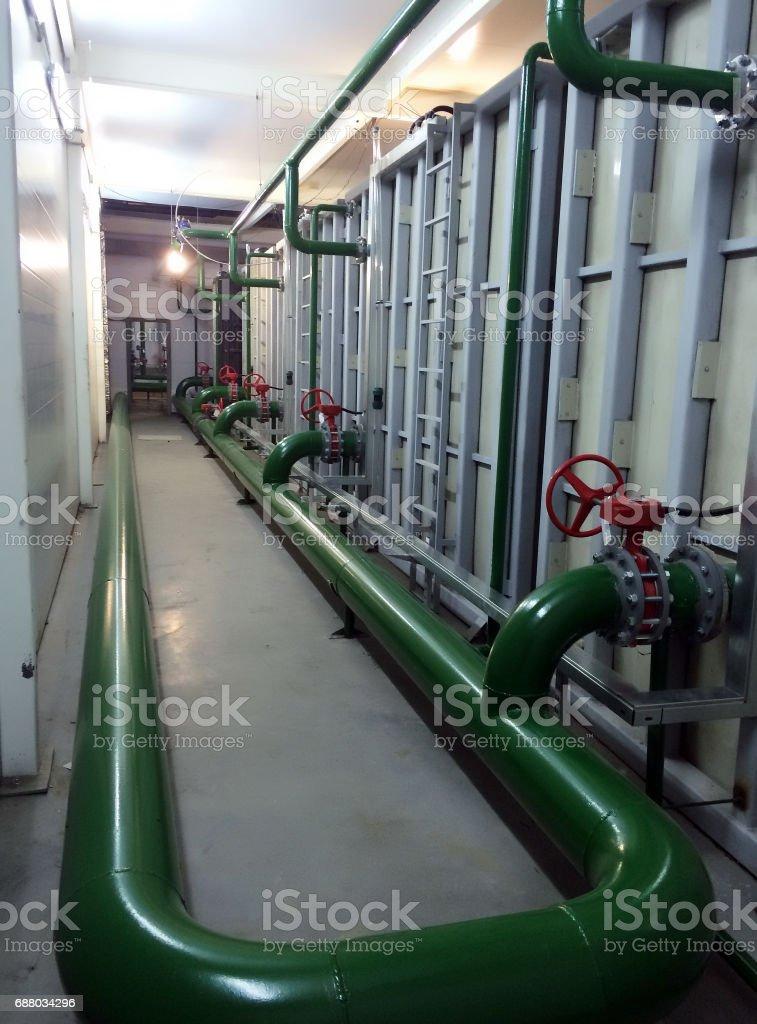 Industrial equipment interior of polypropylene tanks manufacturer stock photo