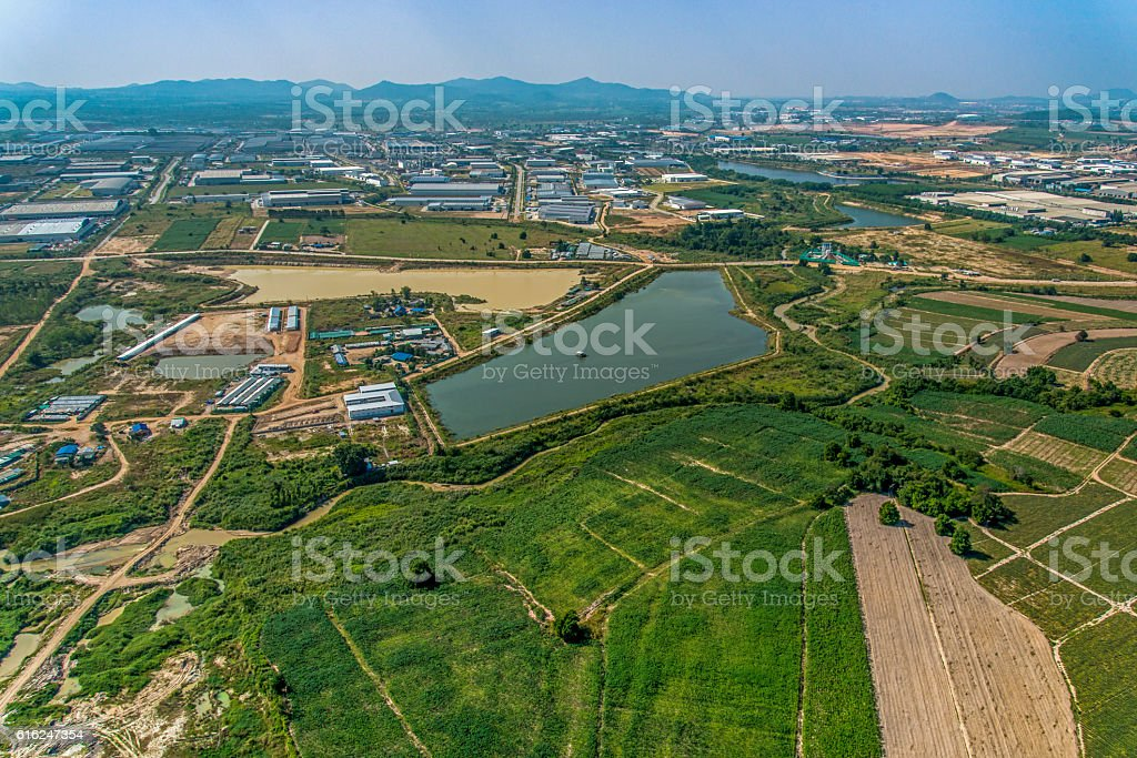Industrial estate development and Farming Aerial photography stock photo
