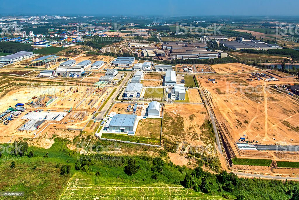 Industrial estate land development construction stock photo