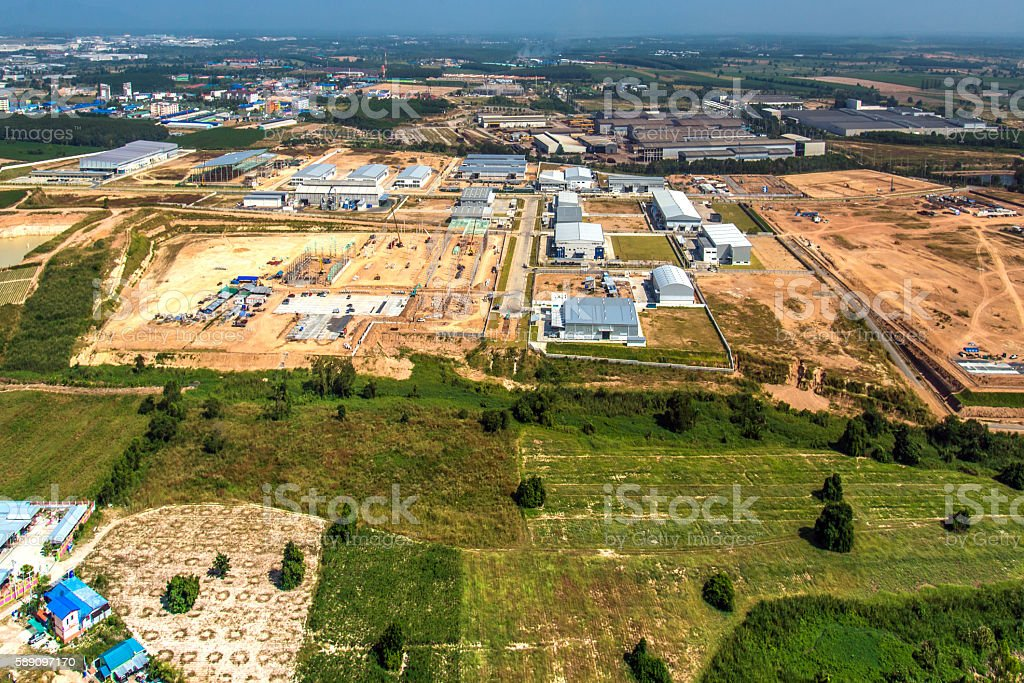 Industrial estate land development onstruction aerial view stock photo