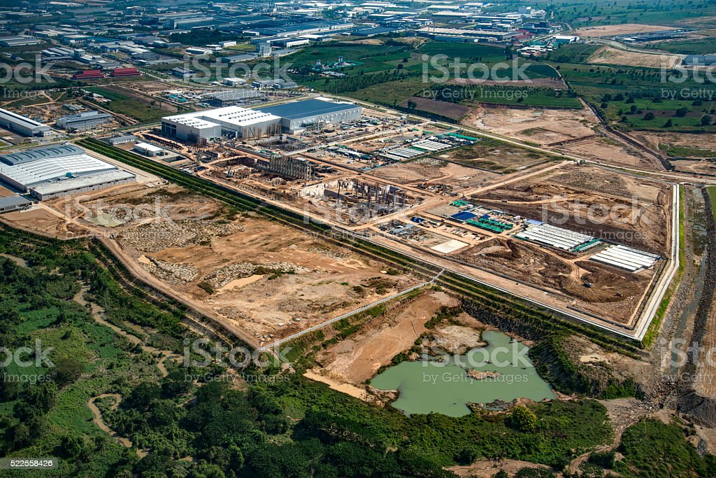 Industrial estate land development stock photo