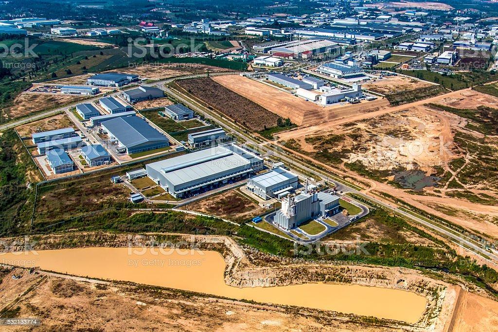 Industrial estate land development stock photo
