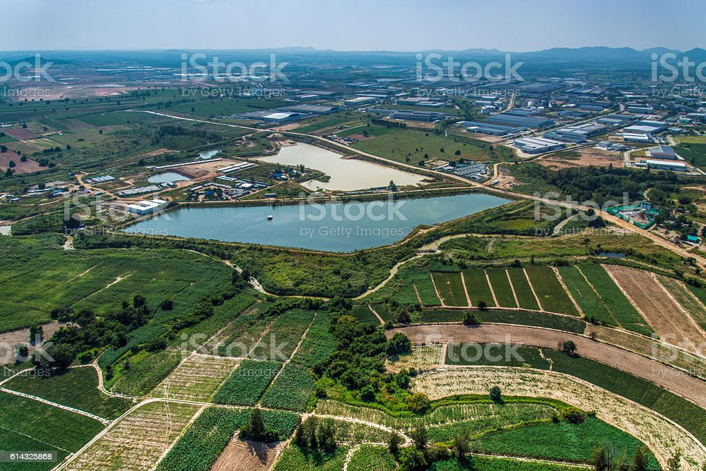 Industrial Estate Land Development Water Reservoir Farming stock photo