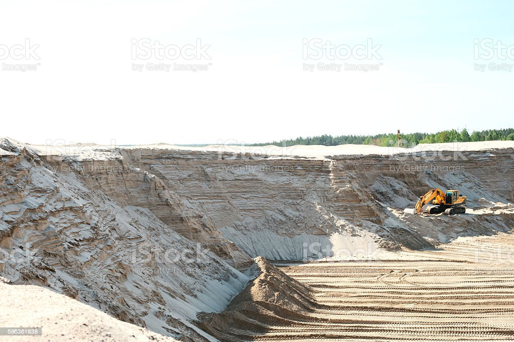 Industrial extraction of sand. stock photo