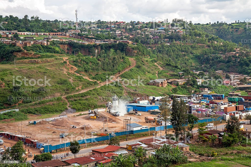 Industrial facilities in flood threatened valley in Kigali stock photo