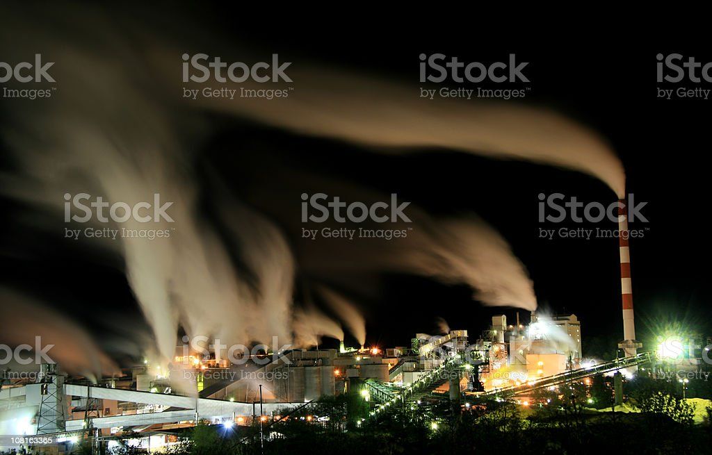 Industrial Factory at Night stock photo