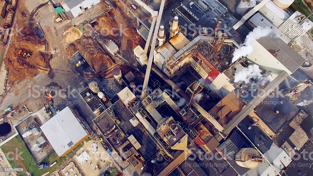 Industrial Factory, Paper Mill, View From Above stock photo