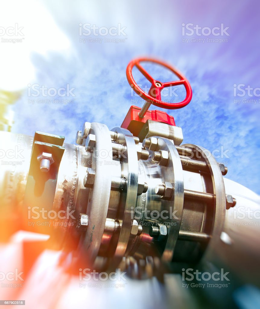 Industrial Factory. Various mechanisms and metal pipes. Toned image. Motion blur effect. stock photo