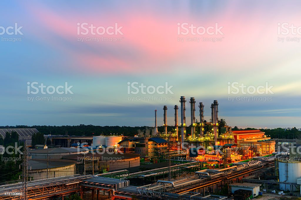 industrial factory with sunset. stock photo