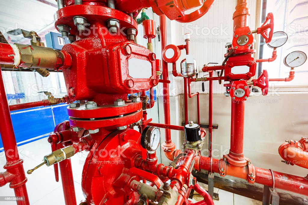 Industrial fire control system stock photo