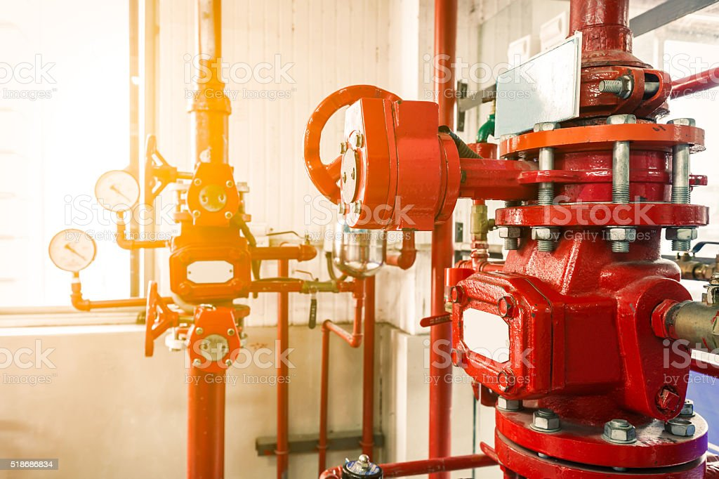 Industrial fire extinguishing system stock photo