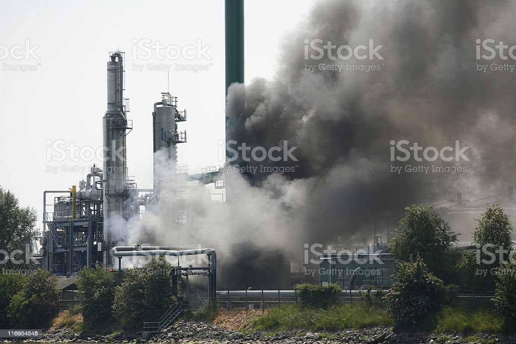 Industrial fire stock photo