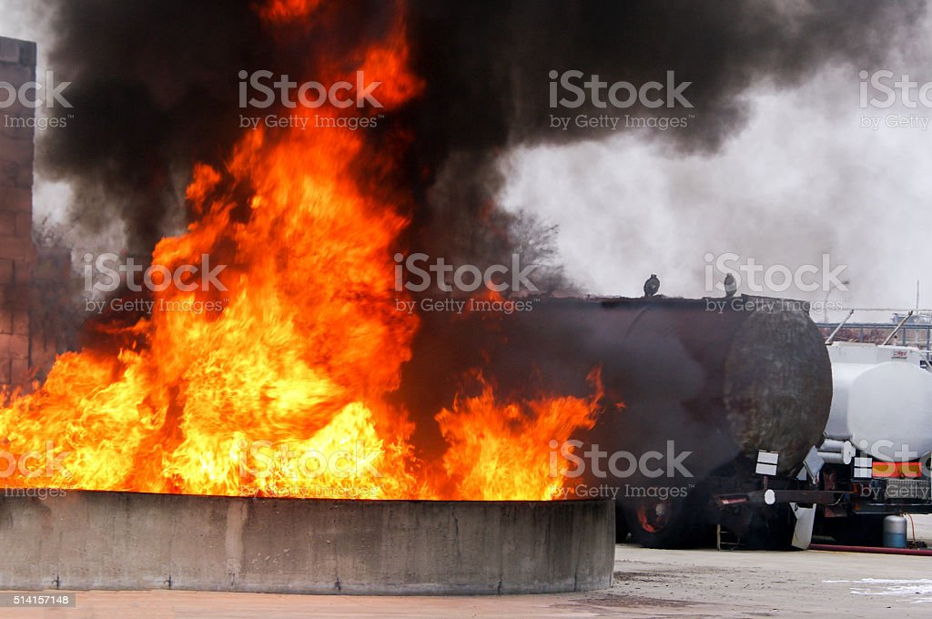 Industrial fire safety security risk stock photo