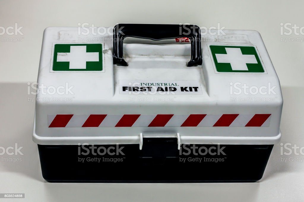 Industrial First Aid Box stock photo