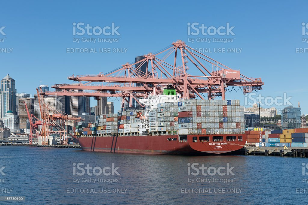 Industrial freight shipping Seattle USA stock photo