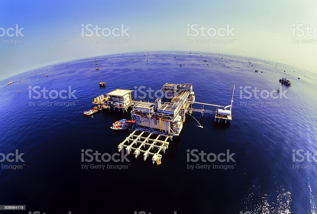 Industrial gas compression plant stock photo