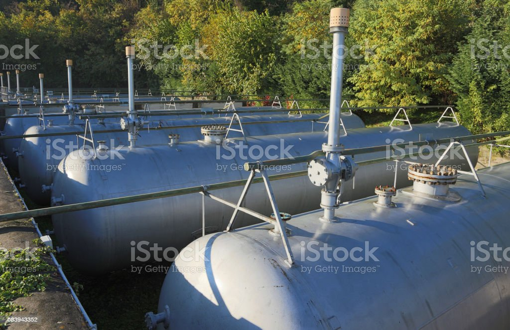 Industrial gas storage facilities in a refinery stock photo