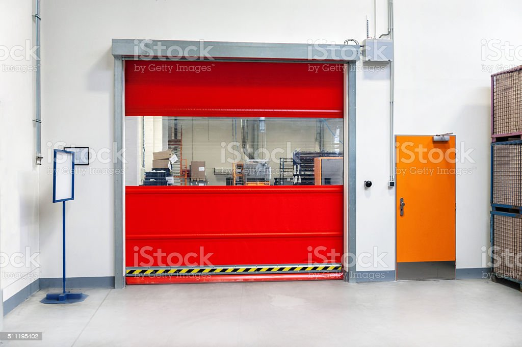 Industrial gate in storage stock photo