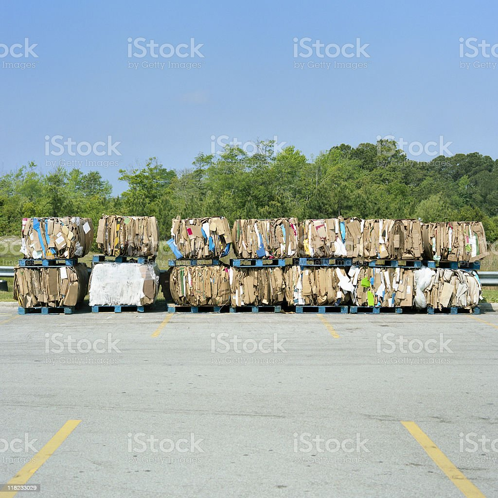 Industrial grade recycled cardboard stock photo