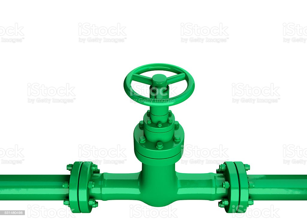 3D Industrial green Pipe and valve on white background. stock photo