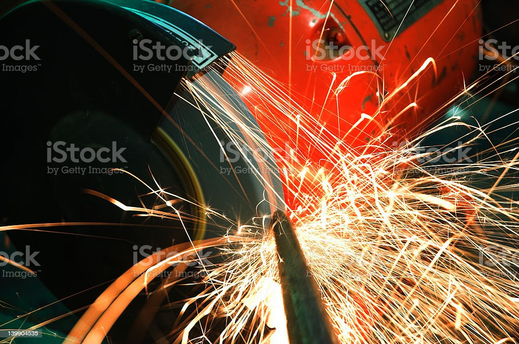 Industrial Grinder and Sparks royalty-free stock photo