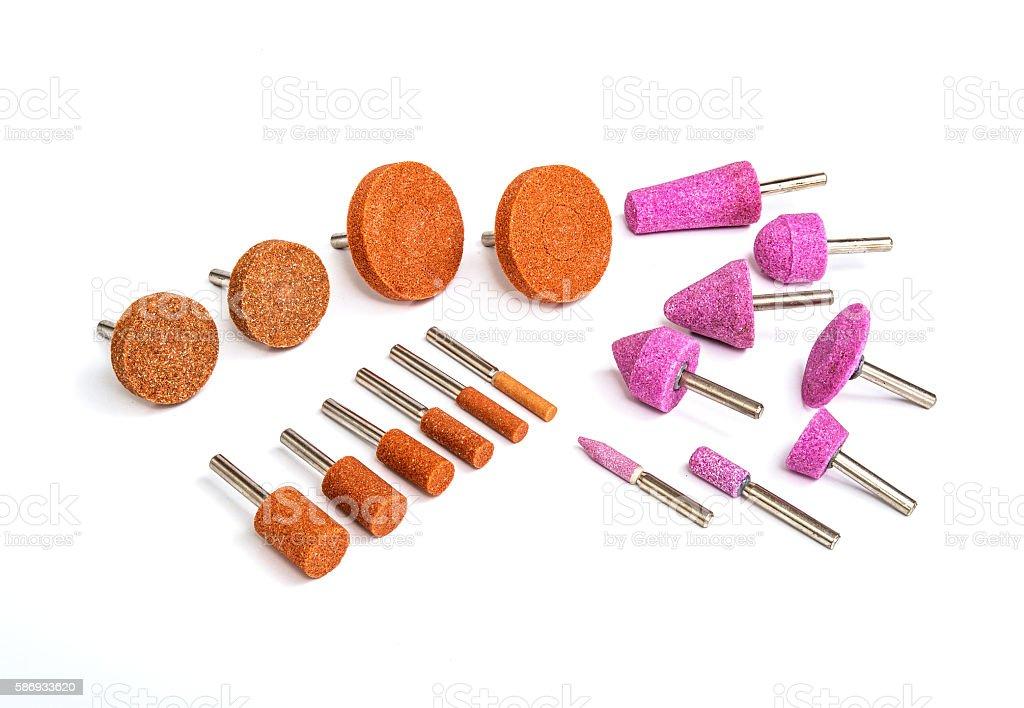Industrial grinding and polishing steel drill bits set stock photo