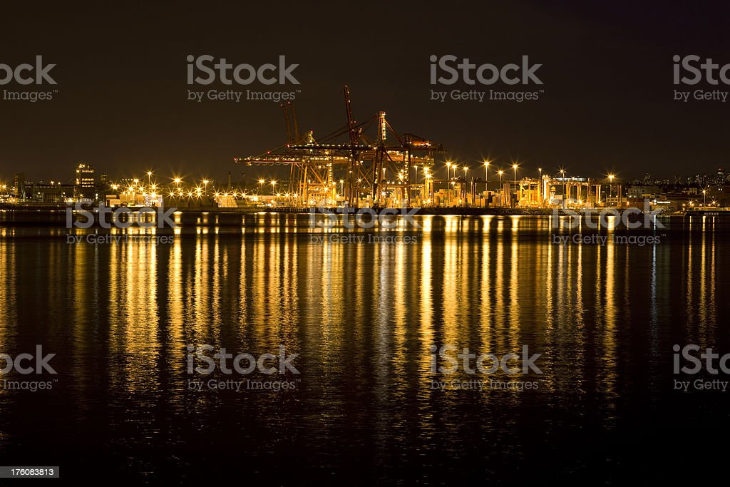 Industrial Harbor at Night royalty-free stock photo