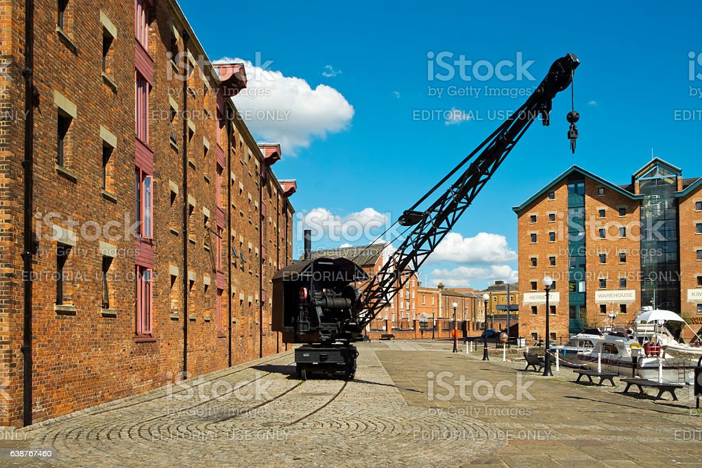 Industrial heritage attracts visitors to Gloucester Docks, Gloucester, UK. stock photo