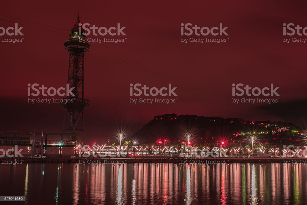 Industrial Hhrbor of Barcelona by night. stock photo