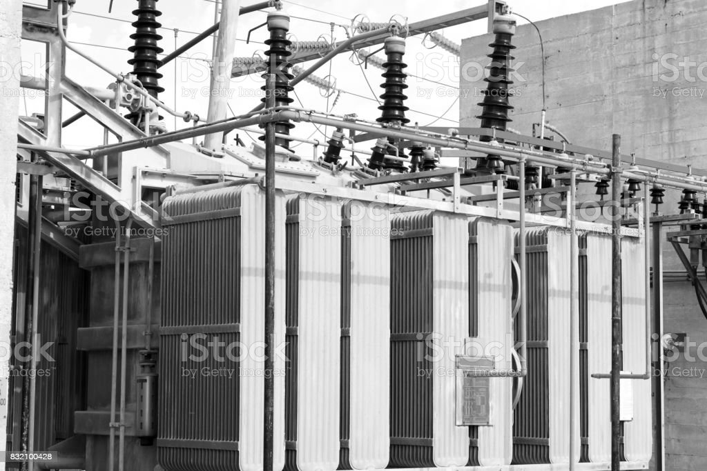 industrial high voltage transformer stock photo
