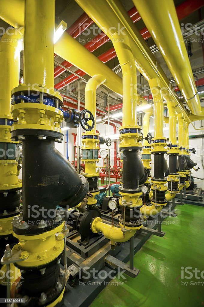 Industrial interior and pipes stock photo