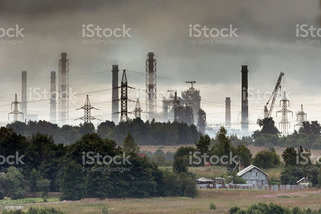 Industrial landscape in gray mist royalty-free stock photo