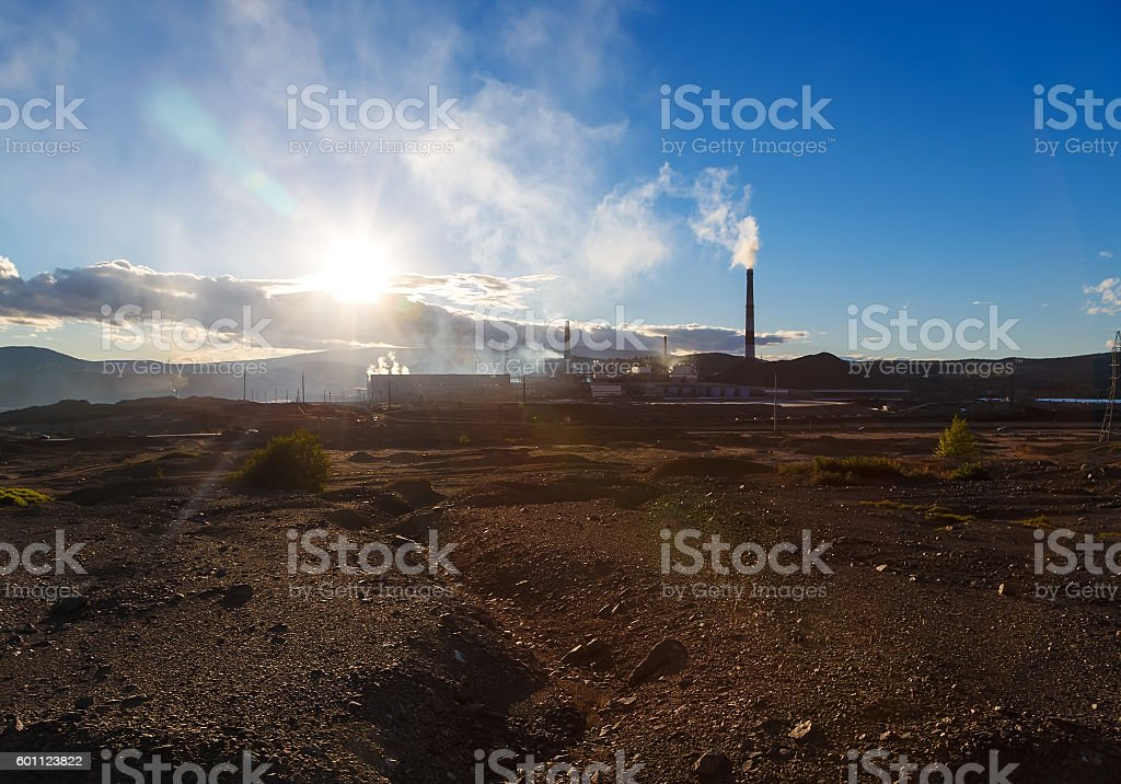 Industrial landscape in Karabash, Chelyabinsk region, Russia stock photo