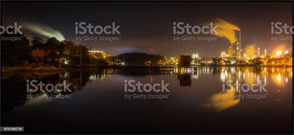 Industrial landscape near idyllic countryside stock photo