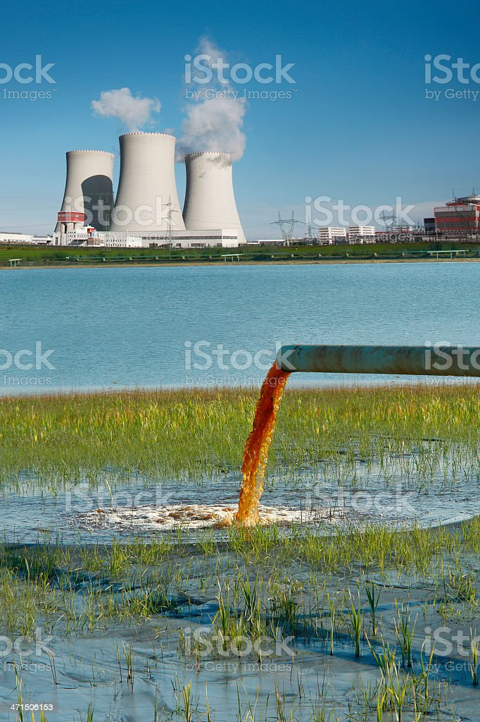Industrial landscape pollution stock photo