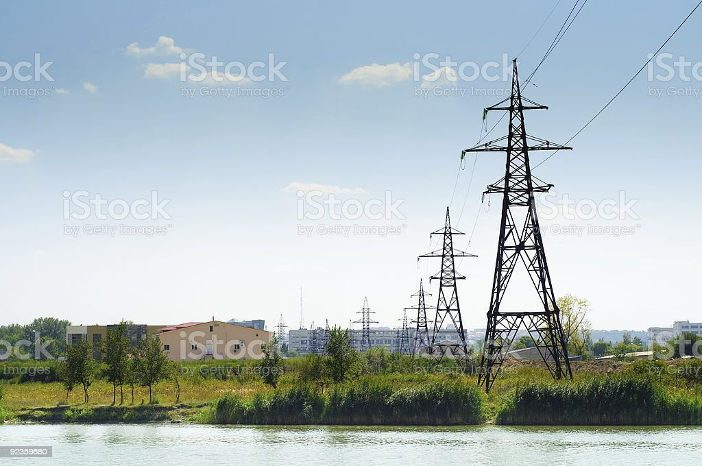 industrial landscape, power lines royalty-free stock photo
