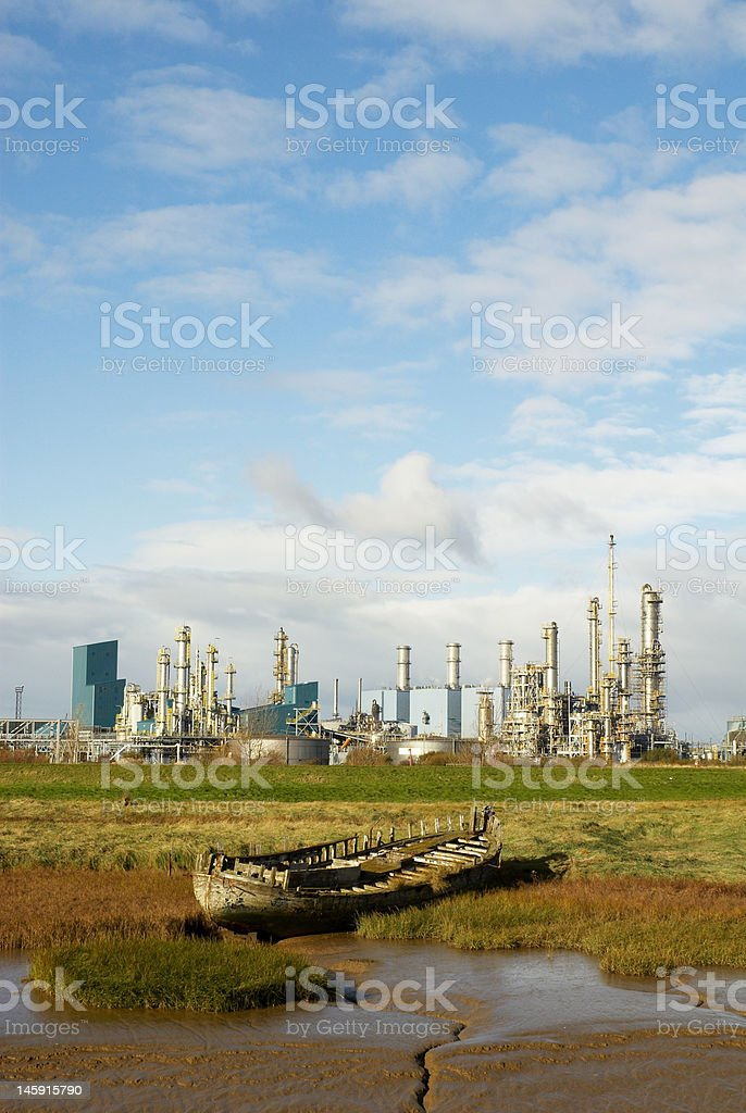 industrial landscape with boat stock photo