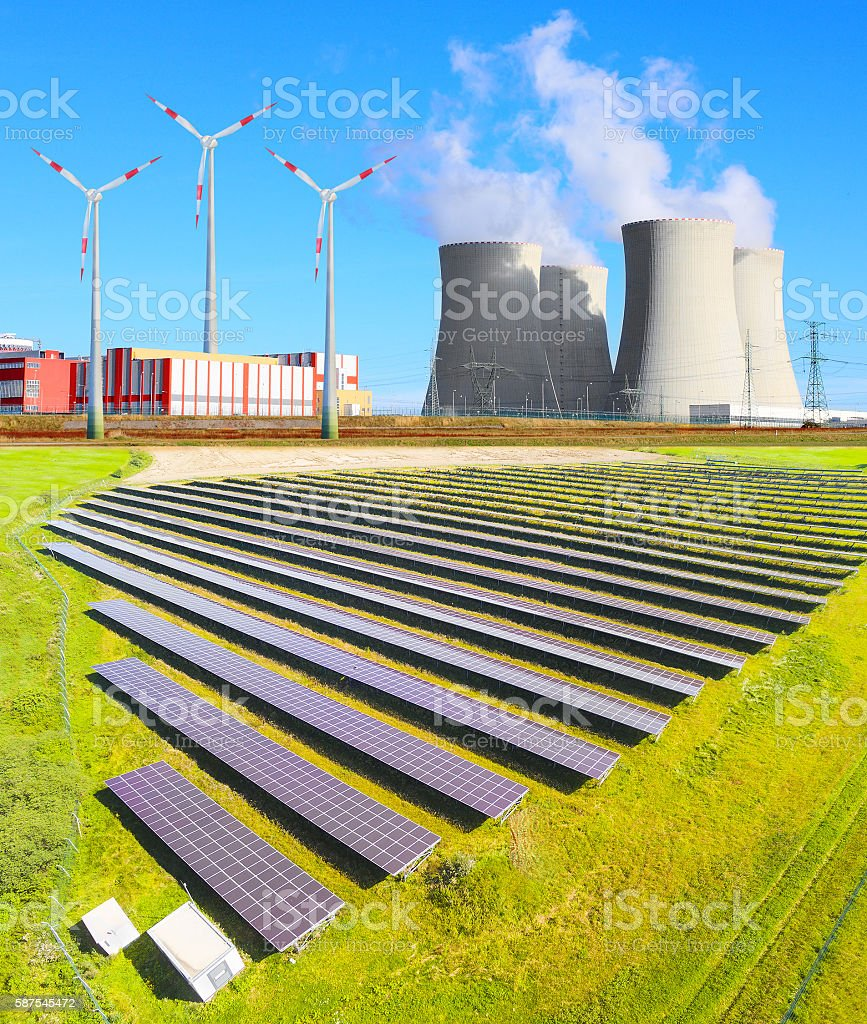 Industrial landscape with different energy resources. stock photo