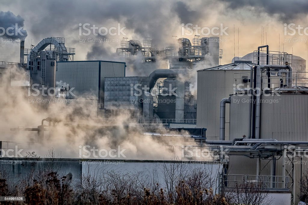 Industrial landscape-chemical plant, Wroclaw, Poland stock photo